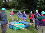 Outdoor team challenge: raft building